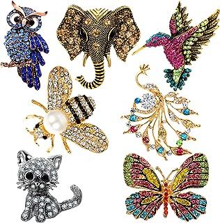 Sunssy 7PCS Women Brooch Set Animal Colorful Crystal Pin Brooch Butterfly Hummingbird Owl Elephant Peacock Cat Bee Brooch Pin