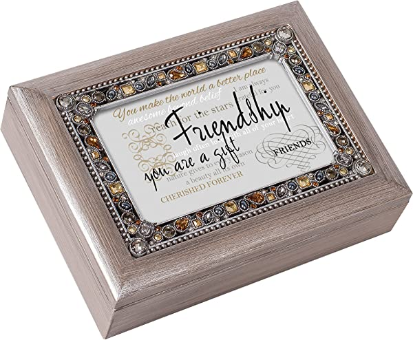 Cottage Garden Friendship You Are A Gift Brushed Pewter Jewelry Music Box Plays What Friends Are For