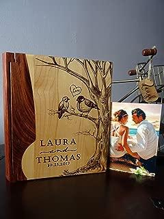 Personalized Wood Cover Photo Album, Custom Engraved Wedding Album, Style 127B (Maple & Rosewood Cover)