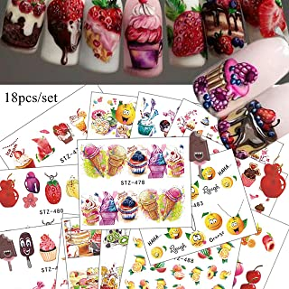 18 Sheets Nail Art Water Decals Ice-Cream Cupcake Ice-lolly Fruit Designs Different patterns Mix Nail Art Water Transfer Decals for manicure (18sheets) 10031