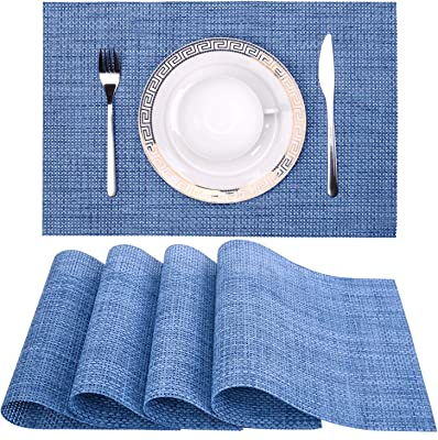 "Zupro 18""x12"" PVC Placemats for Dining Table, Heat-Resistant Placemats Stain Resistant Anti-Skid Washable Table Mats Woven Vinyl Kitchen Placemats for Thanksgiving Holiday, Place Mats 4pcs(Hemp Blue)"