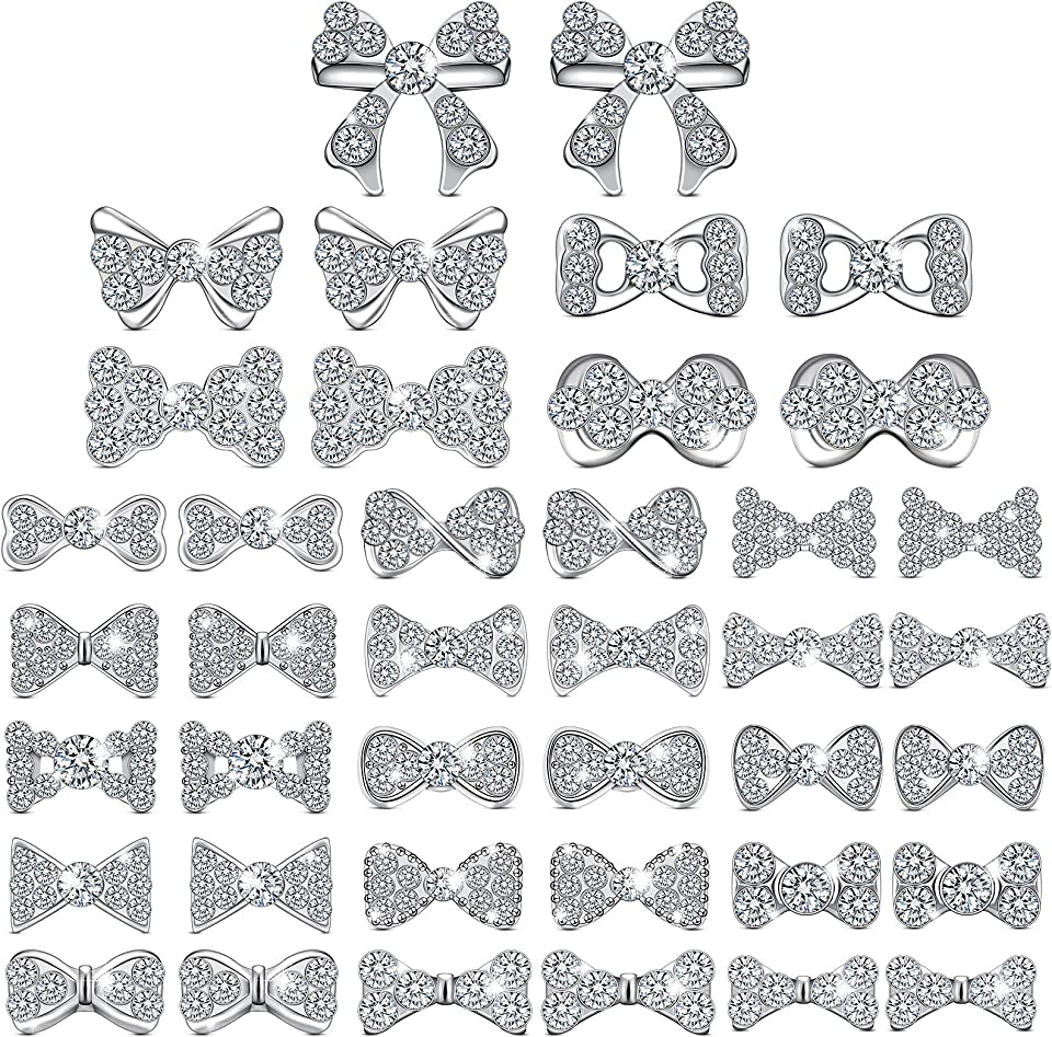 40 Pieces 3D Bow Nail Charms Bow Tie Design Nail Art Slices Rhinestone Alloy Bow Nail Art Decals Bow Nail Art Decoration for Women Girls DIY Nail Art 20 Styles