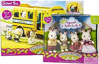 Calico Critters of Cloverleaf Corners Bundle Hopscotch Rabbit Family Set with School Bus Set