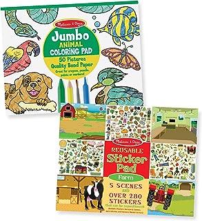 "Melissa & Doug Jumbo Coloring & Reusable Sticker Pad 2 Pack – Animal Coloring, Farm Stickers, 14"" X 11"" Each"