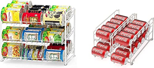 popular Simple Houseware Stackable Can lowest Rack Organizer + Soda Can Dispenser outlet sale Organizer, White sale