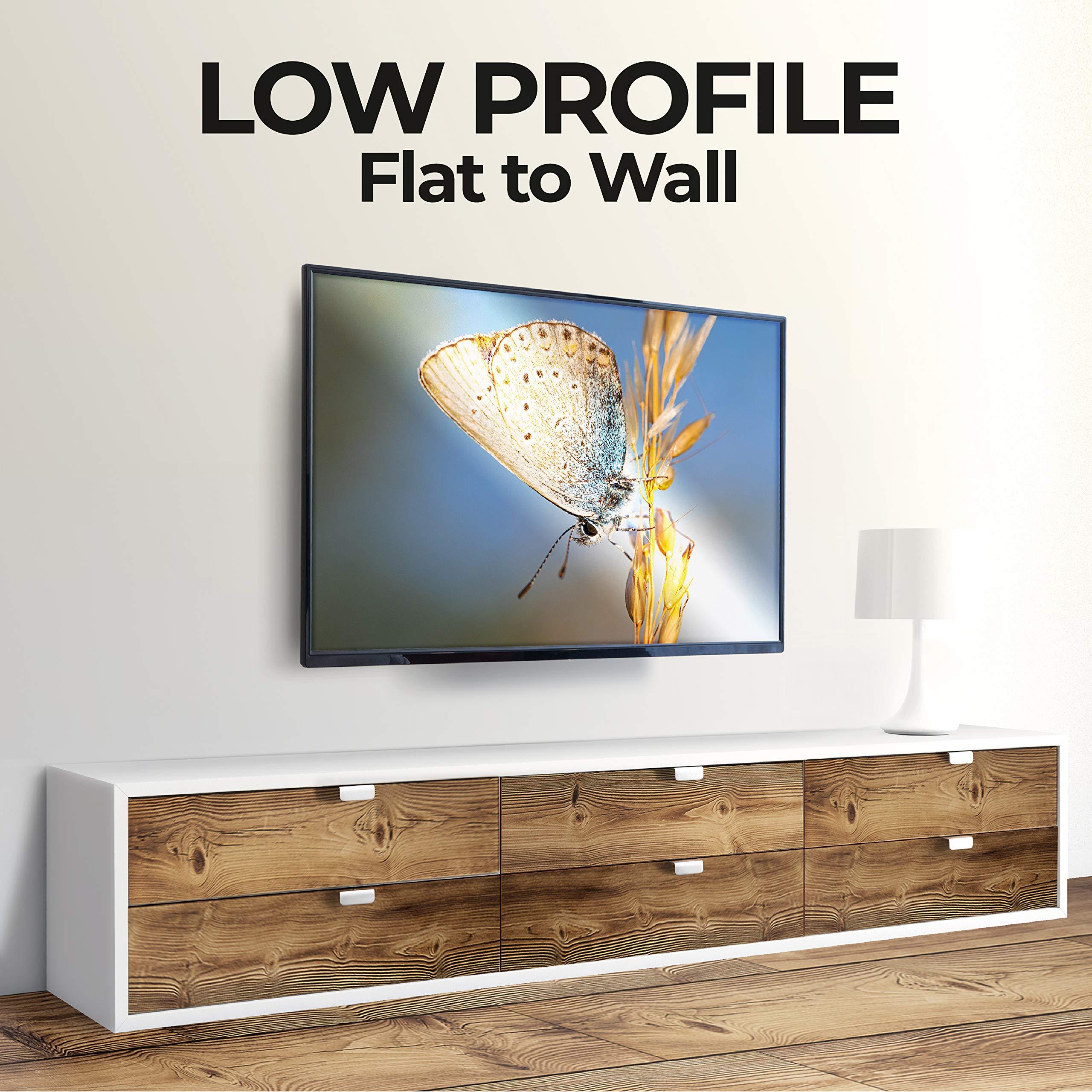 AmazonBasics - Soporte de pared plano de bajo perfil con riel, para televisión, de 81,3 a 177,8 cm (32-70