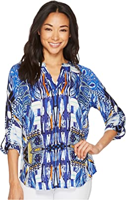 Tribal - Long Sleeve Printed Blouse w/ Beaded Collar