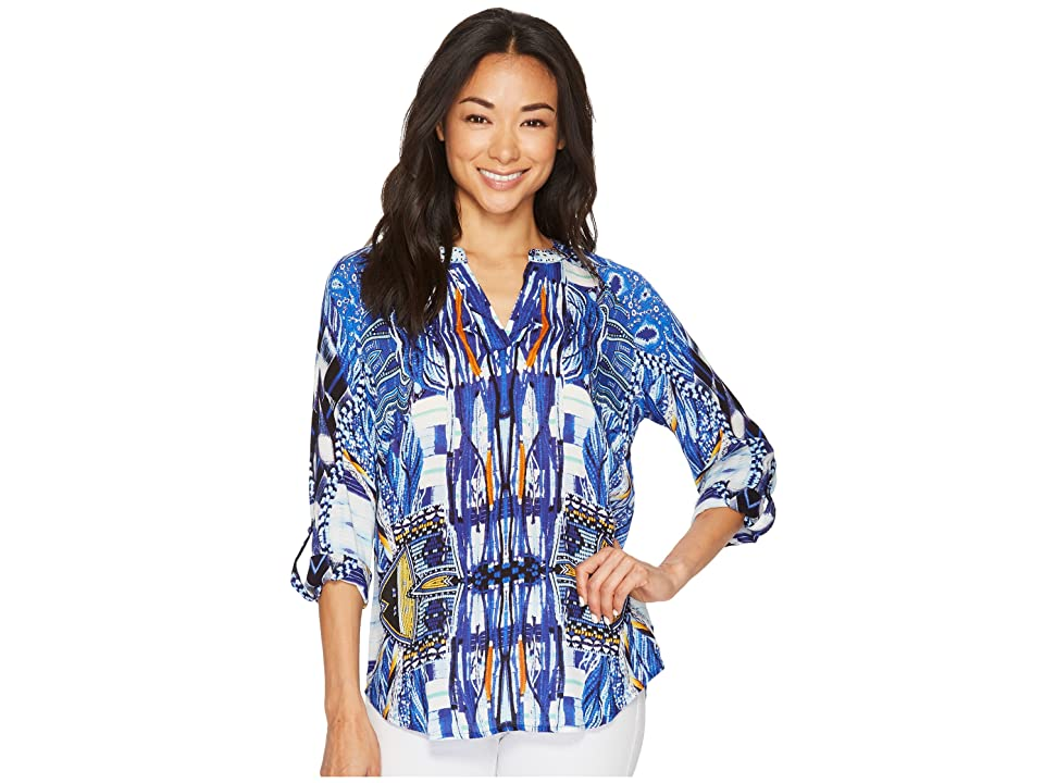 Tribal Long Sleeve Printed Blouse w/ Beaded Collar (Fiesta) Women