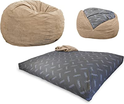 CordaRoy's Corduroy Bean Bag Chair, Convertible Chair Folds from Bean Bag to Bed, As Seen on Shark Tank, Khaki - Full Size