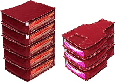 atorakushon® Fabric Saree Cover and Blouse Cover Pack of 8 (Maroon)