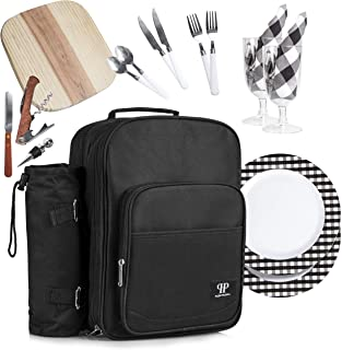 Plush Picnic - Picnic Bag Backpack/Insulated Picnic Basket, Detachable Bottle/Wine Holder, Fleece Blanket, Plates and Cutlery Set (2 Person)