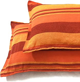 Rangbhar Handloom Pillow Covers, Set of 2 Khadi Cotton Pillow Covers, Striped, 18 x 27 inch- Orange