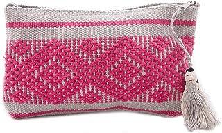 Cosmetiquera Bordada en Telar de Cintura Mediana Gris Plata con Rosa Mexicano
