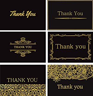 120 Elegant Thank You Cards in Black with Envelopes and Stickers - Highest Quality 6 Designs Bulk Notes Embossed with Gold Foil Letters for Wedding, Formal, Business, Graduation, Funeral 4x6
