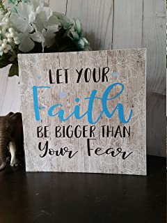 Susie85Electra Faith Over Fear Sign Faithful Sign Faithful Wall Art Religious Gifts Religious Wood Sign Wooden Inspirational Signs Wooden Faith Sign