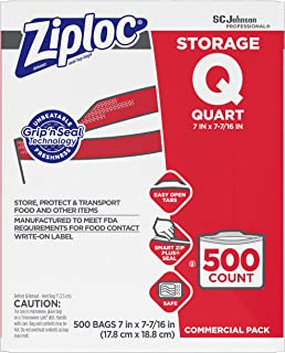 Ziploc Storage bag, quart, 500 ct