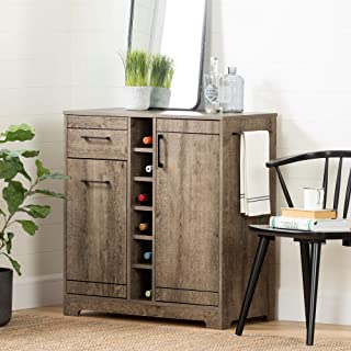 South Shore Vietti Bar Cabinet and Bottle Storage-Weathered Oak