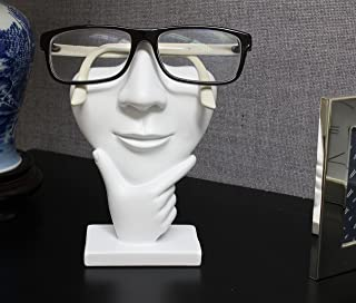JewelryNanny Artsy Face Eyeglass Holder Stand - Sculpted Nose for Eyeglasses or Sunglasses, Thinker, White