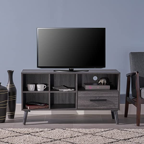 Great Deal Furniture 304404 Melantha Mid Century Modern Faux Wood Overlay TV Stand Grey Oak