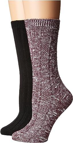 Steve Madden - 2-Pack Boot Sock Slub Yarn