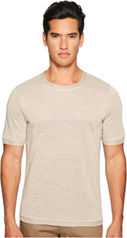 Vince - Linen Short Sleeve Crew Neck Trimmed Sweater