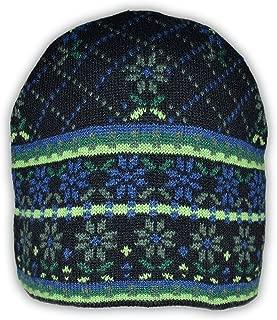 100% Cashmere Jacquard Knit Beanie Cap Flower Box