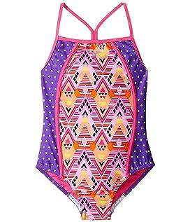 Diamond Geo Splice One-Piece Swimsuit (Big Kids)