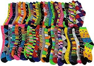 Sumona 50 Pairs Wholesale lots Women Bright Colorful Design Novelty Crew Socks 9-11