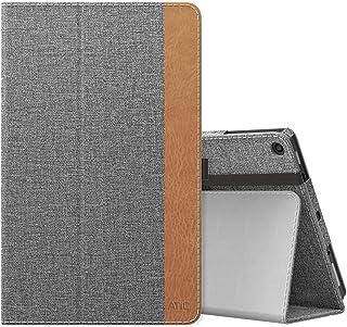 NEW-Fire HD 10 ケース - ATiC Fire HD 10 タブレット (Newモデル) 2017/2019用 全面保護型 薄型スタンドケース Jeans GRAY