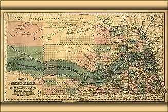 20x30 Poster; Map Nebraska Union Pacific Railroad Grant 1879