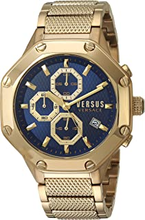 Versus by Versace Men's Kowloon Quartz Watch with Gold-Plated-Stainless-Steel Strap, 22 (Model: VSP390417
