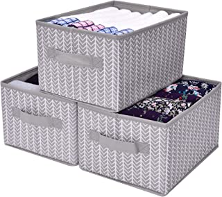 GRANNY SAYS Storage Bin for Shelves, Fabric Closet Organizer Shelf Cube Box with Handle Home Office Storage Baskets, Medium, Gray/White, 3-Pack