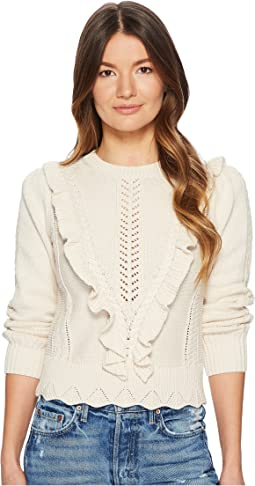 Ruffled Cable Pullover
