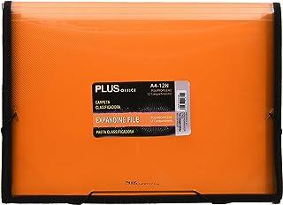 Plus Office A4-12N - Carpeta clasificadora translúcida, 12 separadores, A4, naranja