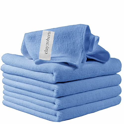 Microfibre Cleaning Cloths, 5 Pack, Blue, Soft Microfibre Dusters, Machine Washable, Lint-Free