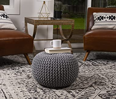 BIRDROCK HOME Round Pouf Foot Stool Ottoman - Knit Bean Bag Floor Chair - Cotton Braided Cord - Great for The Living Room, Be