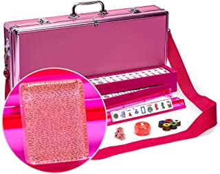 Yellow Mountain Imports American Mahjong Set, Pink Sparkles - Pink Aluminum Case and Pastel Scoring Coins - 4 All-on-One Racks with Pushers