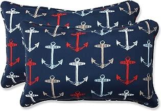 Pillow Perfect Outdoor/Indoor Anchor Allover Arbor Rectangular Throw Pillow, Set of 2, Navy