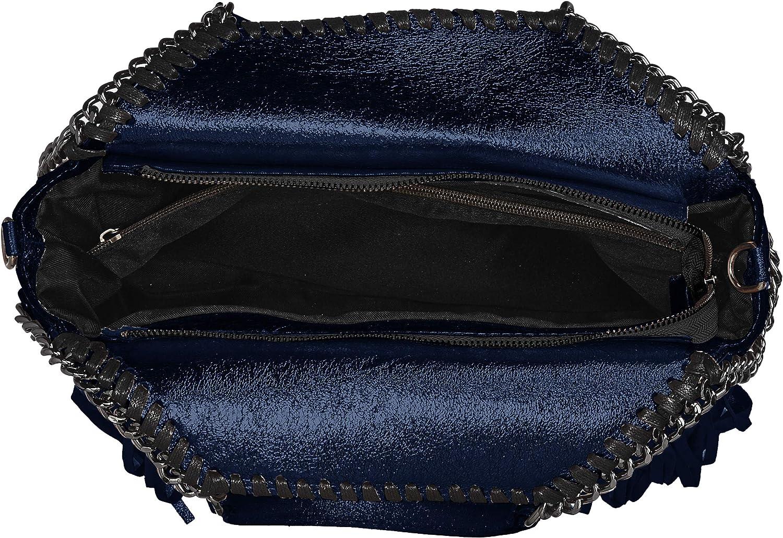 Chicca Borse Cbc7712tar, Sacs portés main Bleu (Dark Blue)