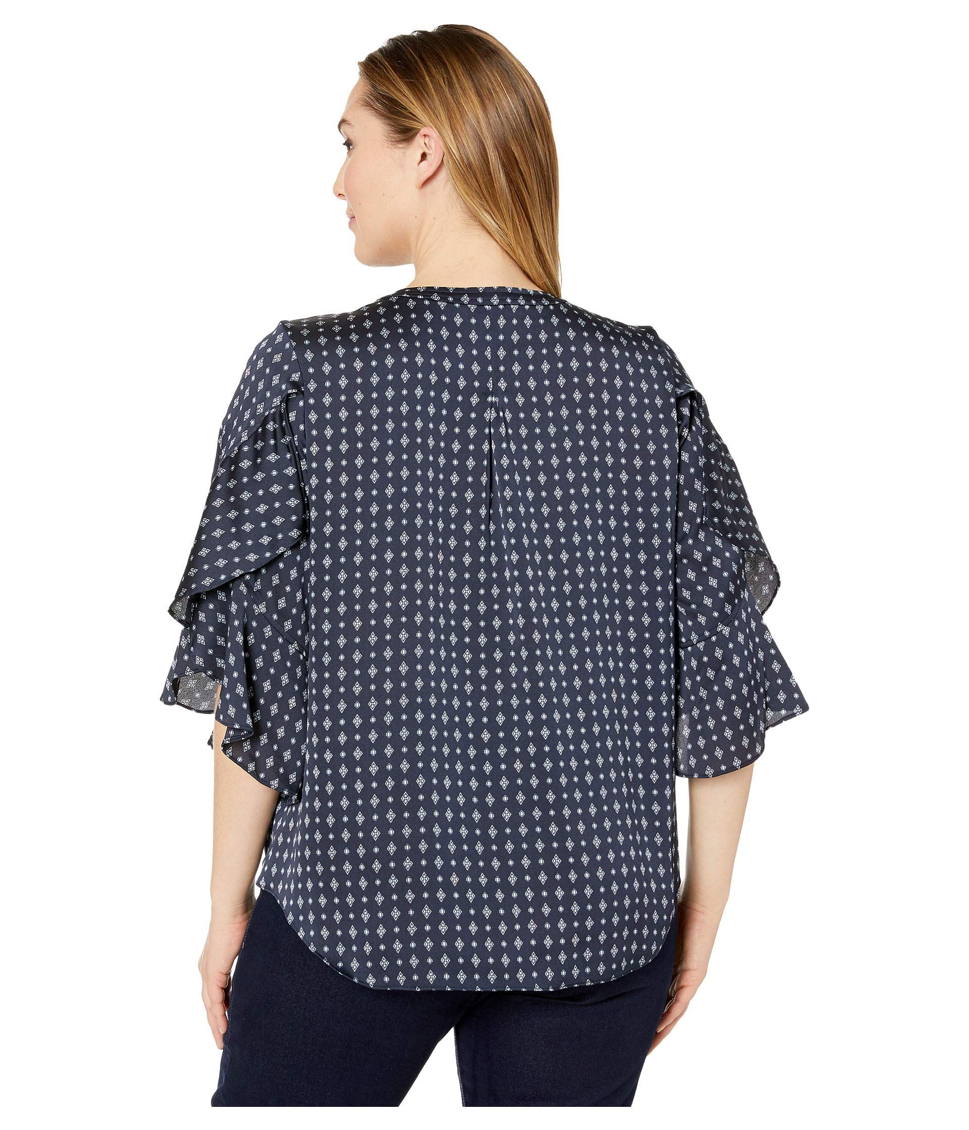 Bell Blouse Down Ruffle Camuto Vince Accents Classic Size Geo Sleeve Specialty Plus Button Navy nA6PqRX