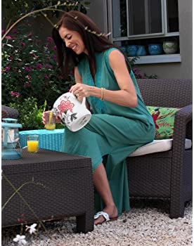 Keter Chair for Outdoor Seating with Washable Cushion - Perfect for Balcony, Deck, and Poolside Furniture Sets, 31 x ...