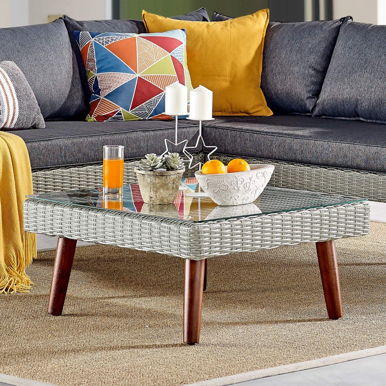 """Albany All-Weather Wicker Outdoor Gray 29"""" Square Coffee Table with Glass Top : Patio, Lawn & Garden"""