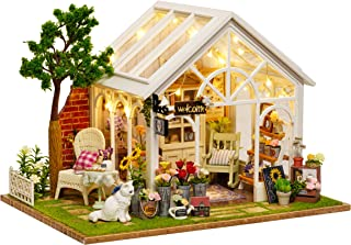 Flever Dollhouse Miniature DIY House Kit Manual Creative with Furniture for Romantic Artwork Gift (Sunshine Greenhouse)