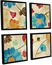 """ArtWall 4 Piece""""Silvia Vassileva's Coral And Teal Garden II"""" Floater Framed Canvas Square Set, 36"""" x 36"""""""