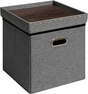 SONGMICS Storage Ottoman Cube with Tray, Padded Foldable Bench with Handles, Holds up to 660 lb, Space-Saving Footstool, 15 x 15 x 15 Inches, Dark Gray ULSF25GYZ