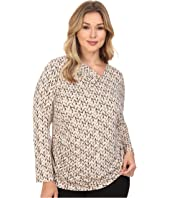 Calvin Klein Plus - Plus Size Printed V-Neck w/ Bar Hardware Top