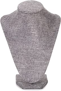 Darice Burlap Necklace Bust: Jewelry Display Stand, Gray, 9 Inches, Grey