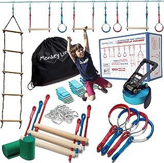 Ninja Warrior Training Equipment Kids 50' Feet | W/ Ladder | The Perfect Outdoor Ninja Line Hanging Obstacle Course | Ninj...