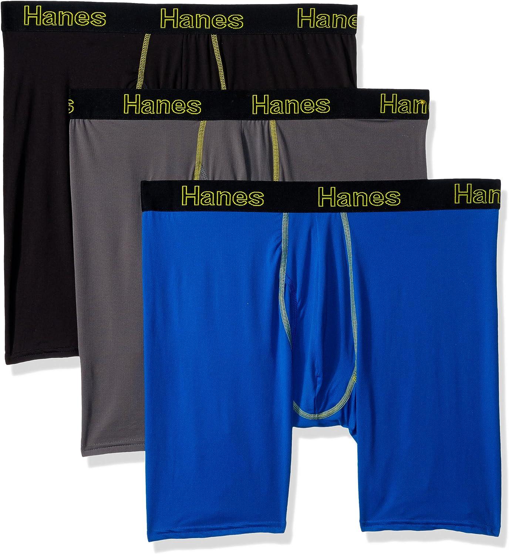 Hanes Men's Comfort Flex Fit Lightweight Mesh Long Leg Boxer Brief 3-Pack