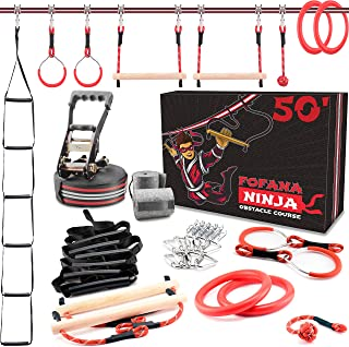 FOFANA Ninja Warrior Obstacle Course for Kids - 50' Ninja Slackline   8 Awesome Obstacles   Play Outside + Have Fun + Get ...